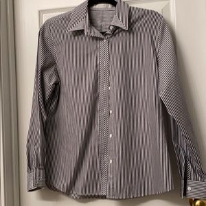 Foxcroft Dark grey and white stripped dress shirt